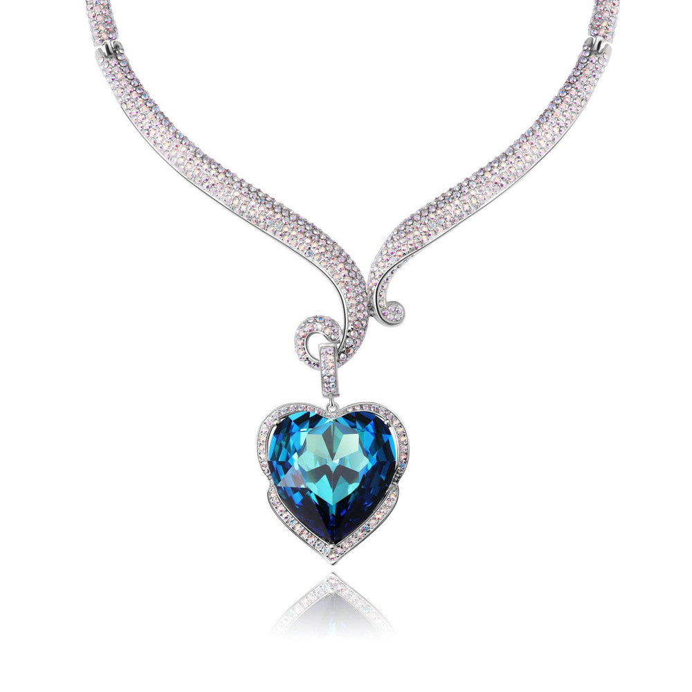 AMAZON BASIN NECKLACE, BLUE, MULTI-COLORED, RHODIUM PLATING, Crystals