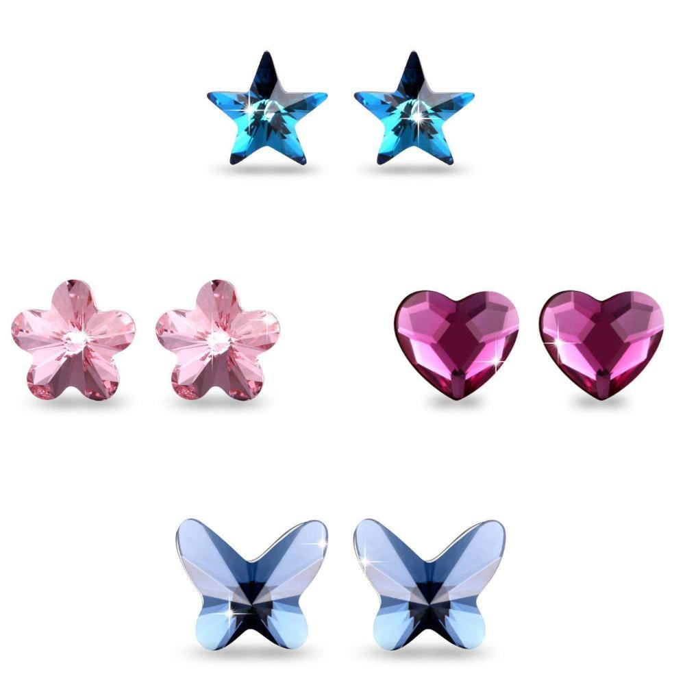 Heart/Star/Flower/Butterfly Stud Earrings