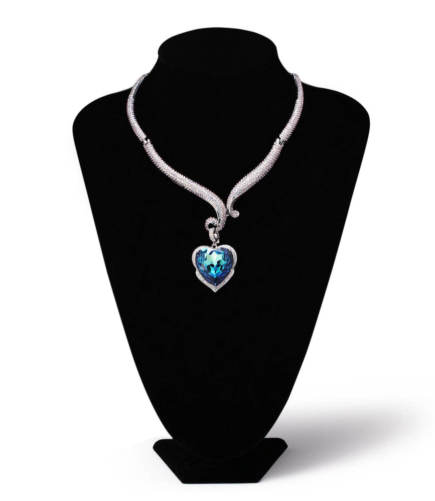AMAZON BASIN NECKLACE, BLUE, MULTI-COLORED, RHODIUM PLATING, Swarovski Crystals