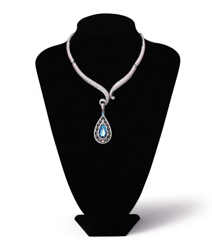 MOSELLE NECKLACE, BLUE, MULTI-COLORED, RHODIUM PLATING, Swarovski Crystals