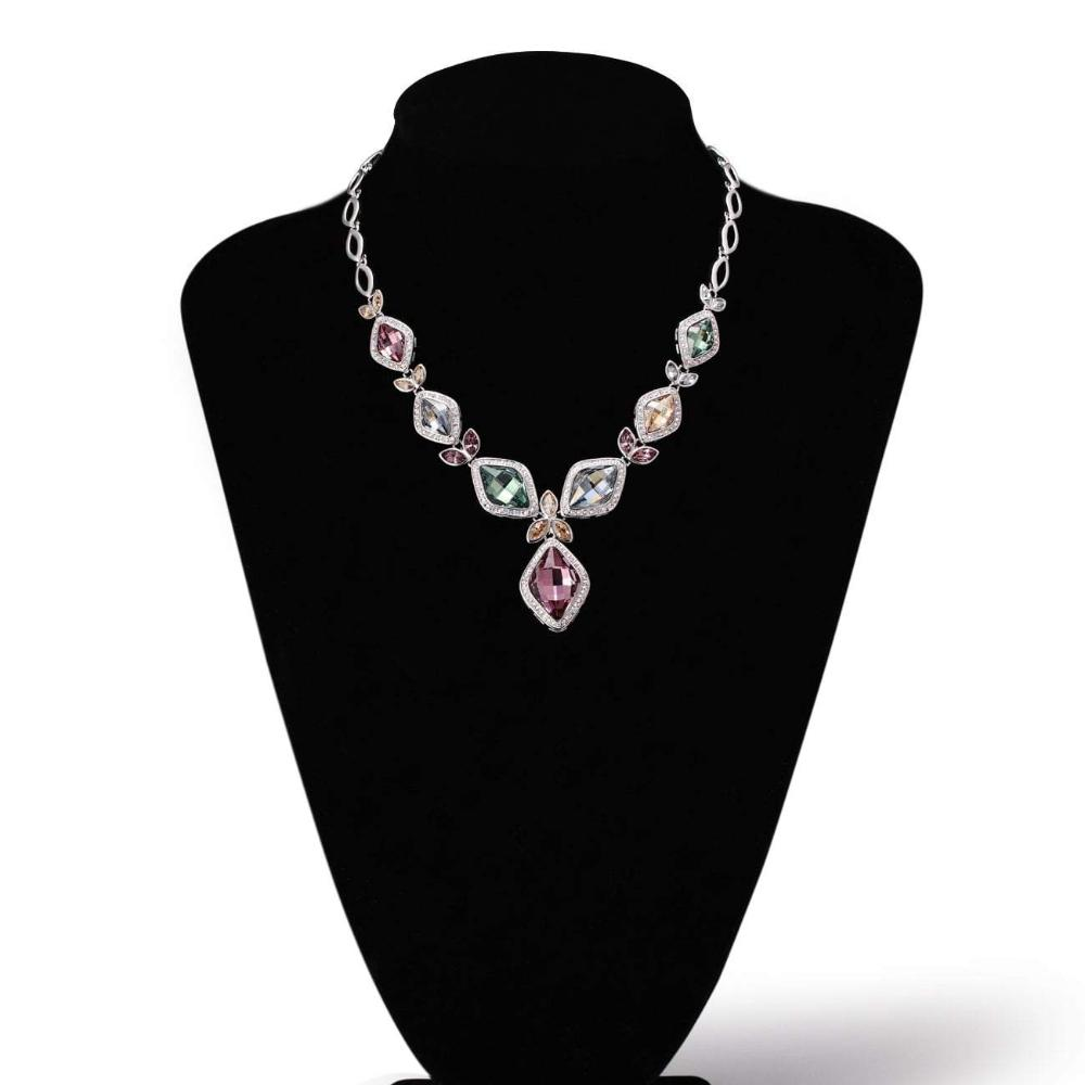 ANGELIC SQUARE NECKLACE,VIOLET, MULTI-COLORED, RHODIUM PLATING, Crystals