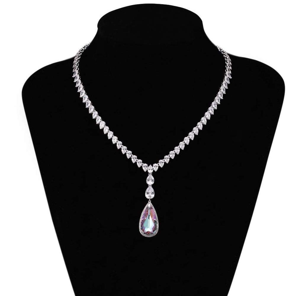 FIT NECKLACE, BLUE, PURPLE, MULTI-COLORED, RHODIUM PLATING, Swarovski Crystals