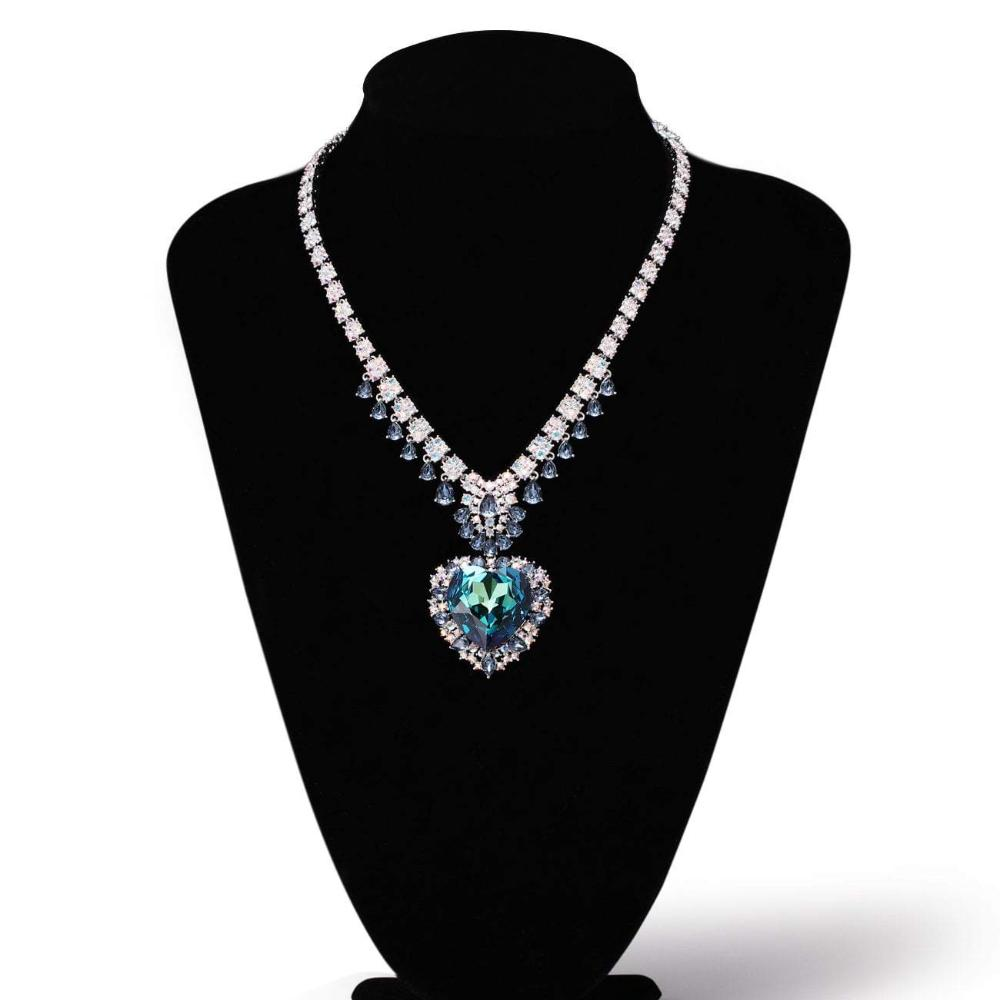 AMAZING MORNING NECKLACE, BLUE, MULTI-COLORED, RHODIUM PLATING, Swarovski Crystals