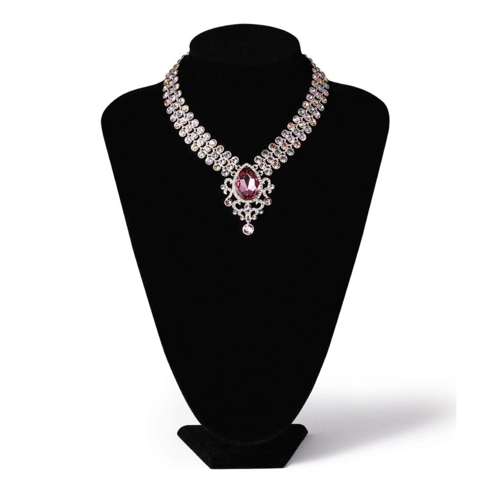 BARON NECKLACE, RED, MULTI-COLORED, RHODIUM PLATING, Swarovski Crystals