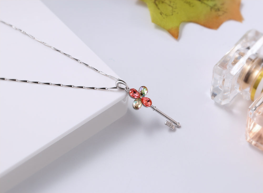 Swarovski Crystal Lucky Four Leaf 925 Sterling Silver Necklace