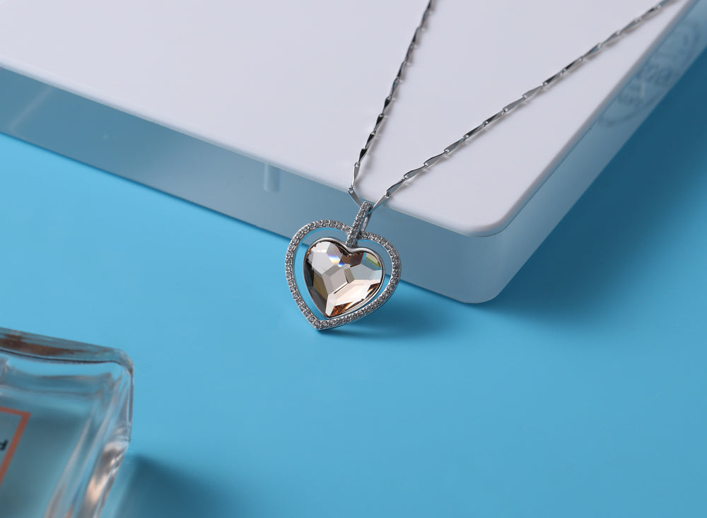 Sterling Silver Double Heart  Necklace For Her