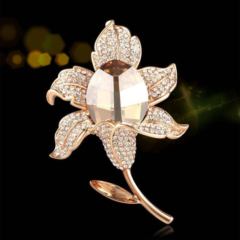 Swarovski Crystal Brooch - Gold Rose