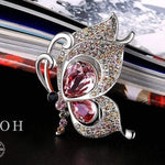 Butterfly Crystal Brooch Red