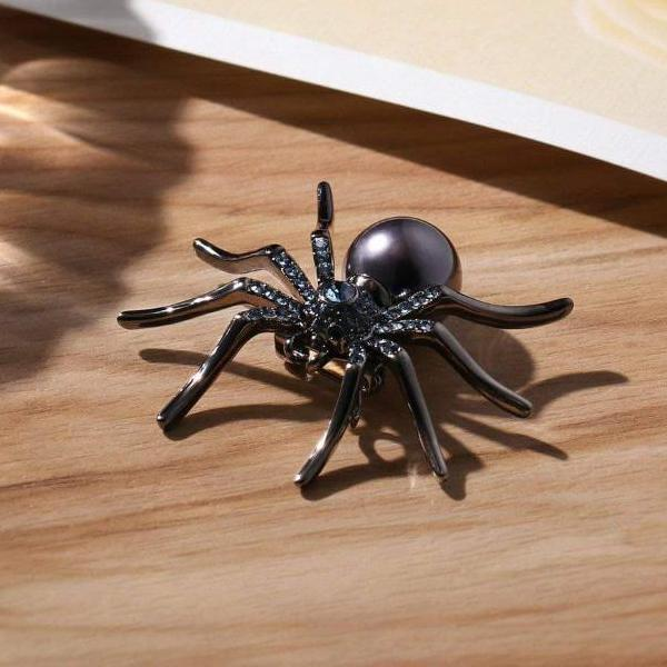 Halloween Spider Brooch Black Crystal Punk Rock