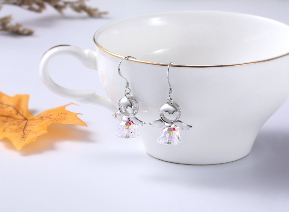 Swarovski Crystal Drop Dangle 925 Sterling Silver Sweet Angel Earrings