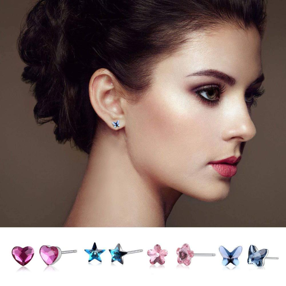 Heart/Star/Flower/Butterfly Stud Earrings Model