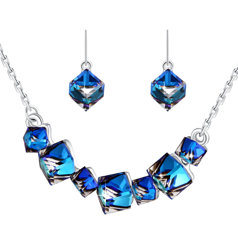 Swarovski Crystal Love Bermuda Blue Pendant Necklace & Earrings Set