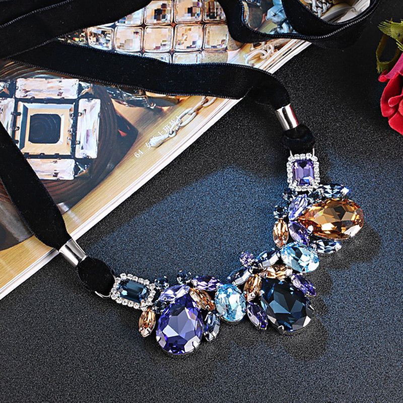 MANOR NECKLACE, BLUE, PINK, MULTI-COLORED, RHODIUM PLATING, Swarovski Crystals