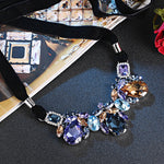 MANOR NECKLACE, BLUE, PINK, MULTI-COLORED, RHODIUM PLATING, Crystals