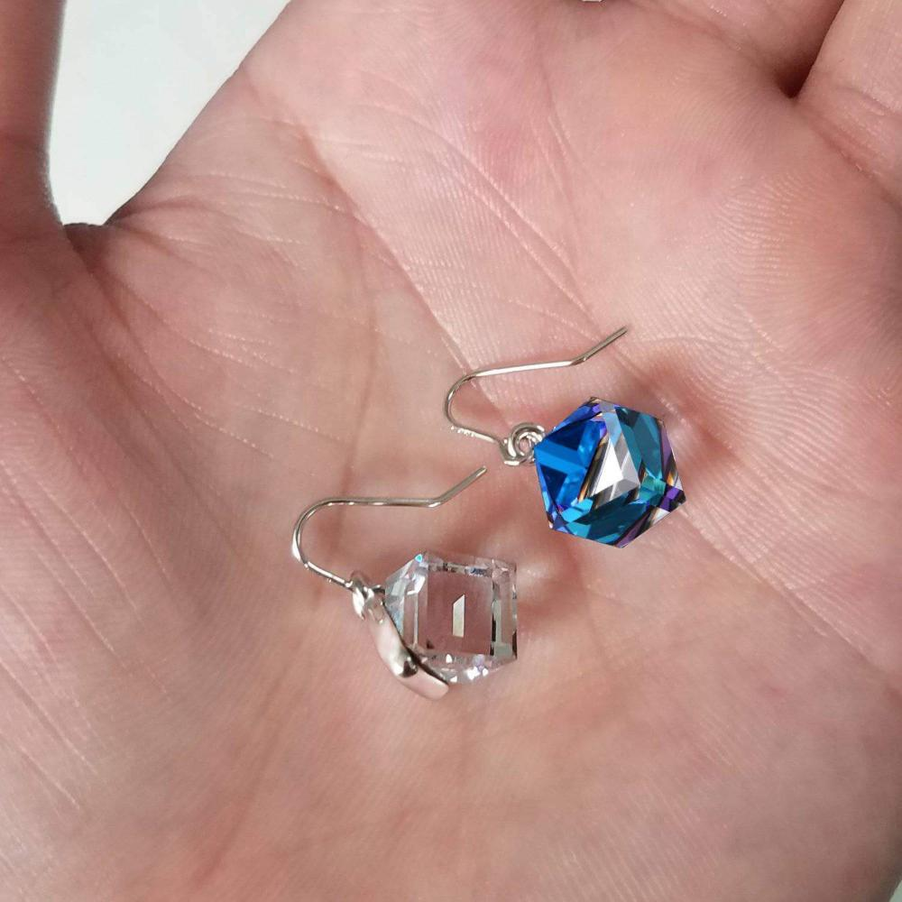 Color Changing Ocean Blue Cubic Crystal Earrings Live