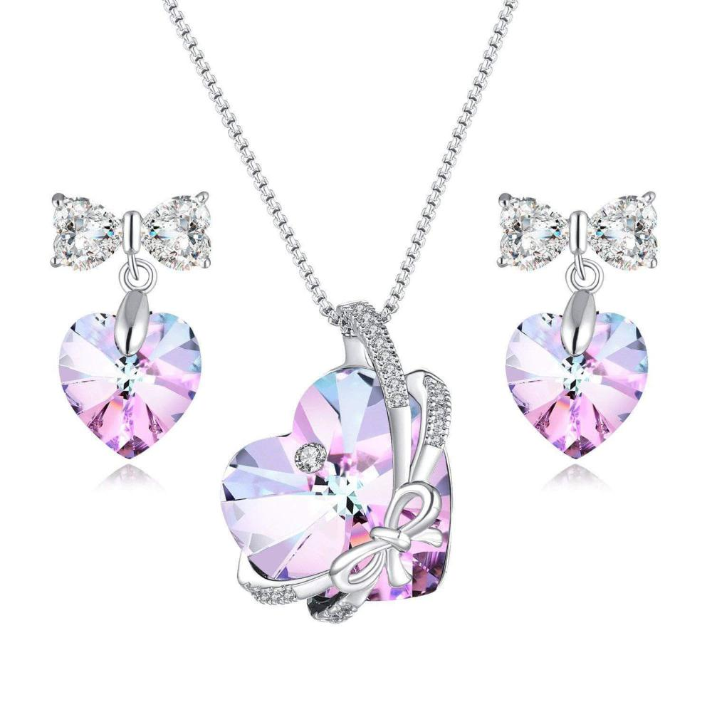 Swarovski Crystal Heart Pendant Necklace & Earrings Set