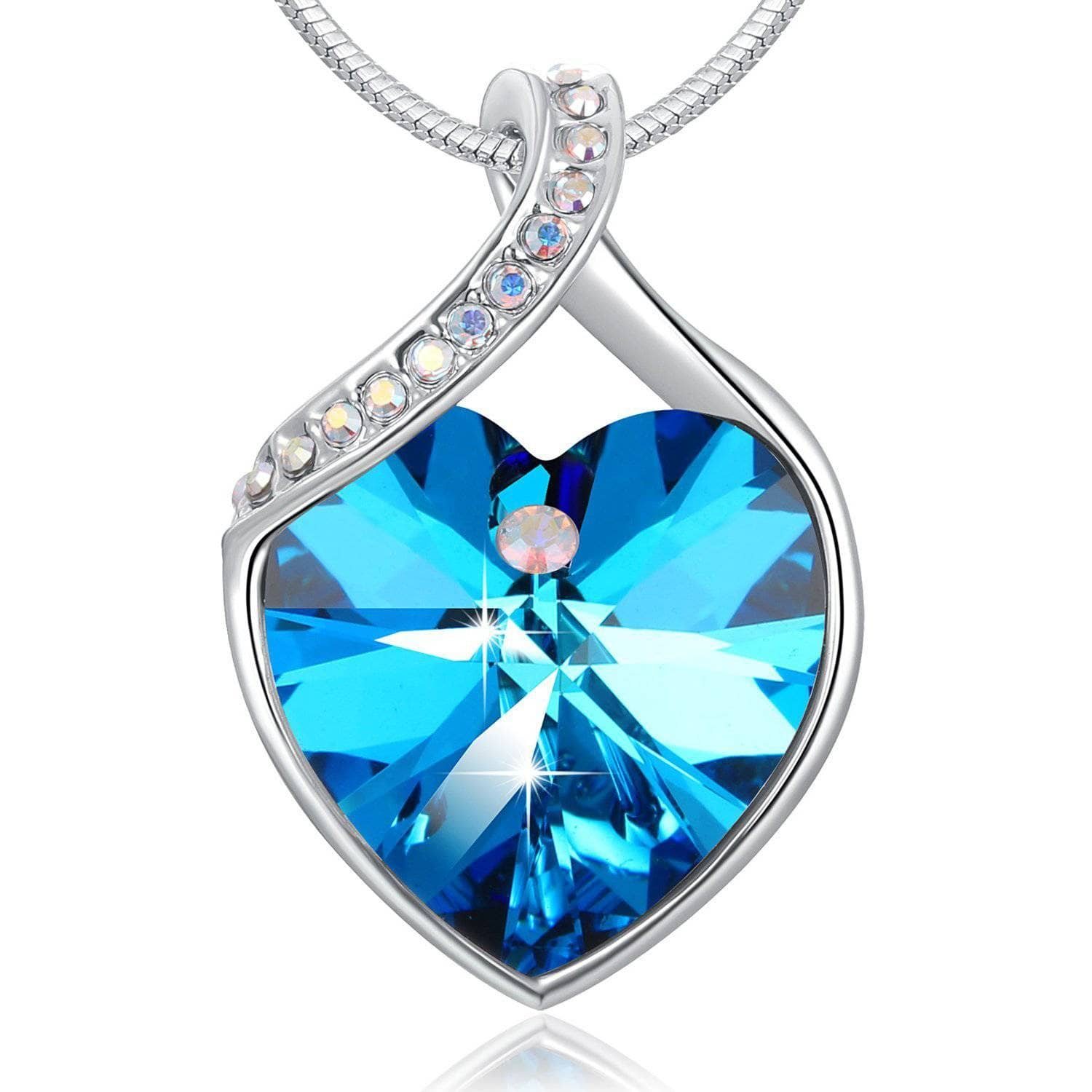 Forever love heart shape pendant necklace necklace bluepurple forever love heart shape pendant necklace blue aloadofball Image collections