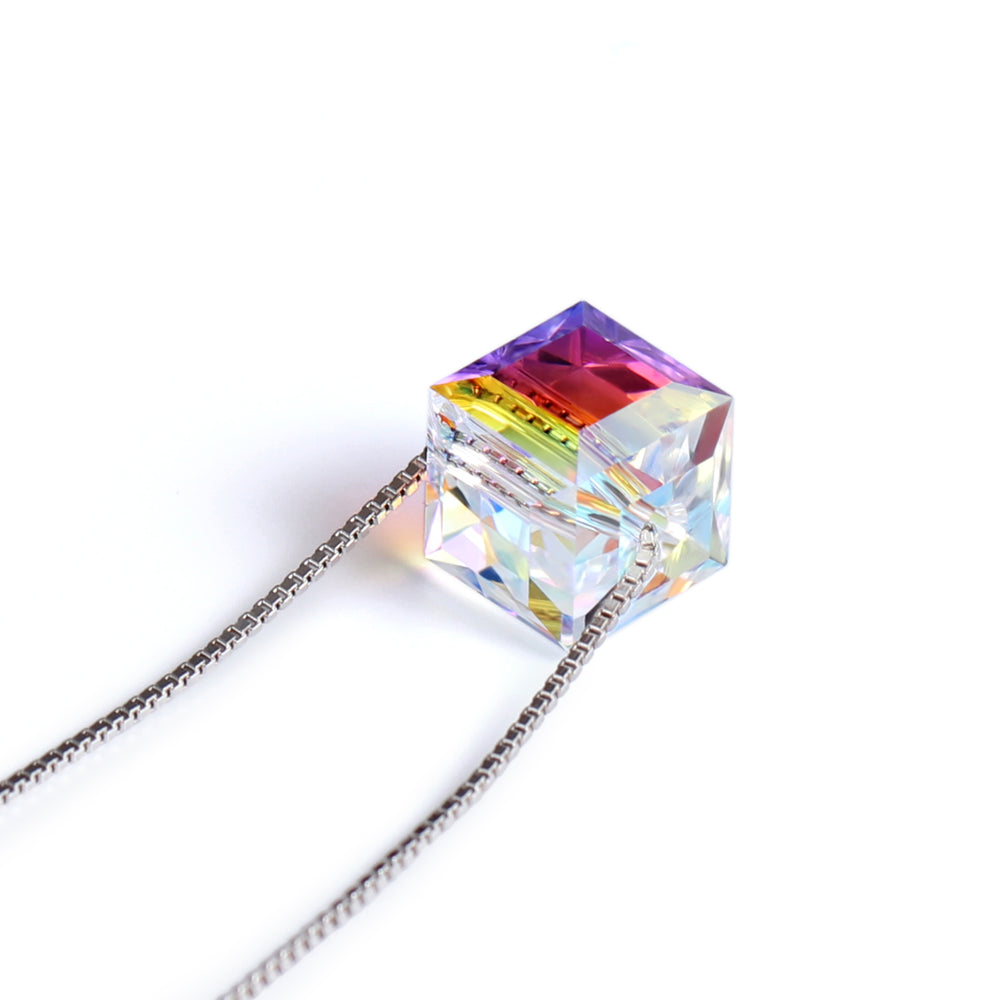 Swarovski Crystal 925 Sterling Silver Cubic Pendant Necklace