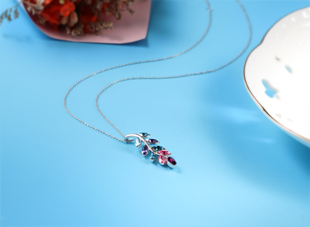 Swarovski Crystal Leaf Pendant Necklace, Red