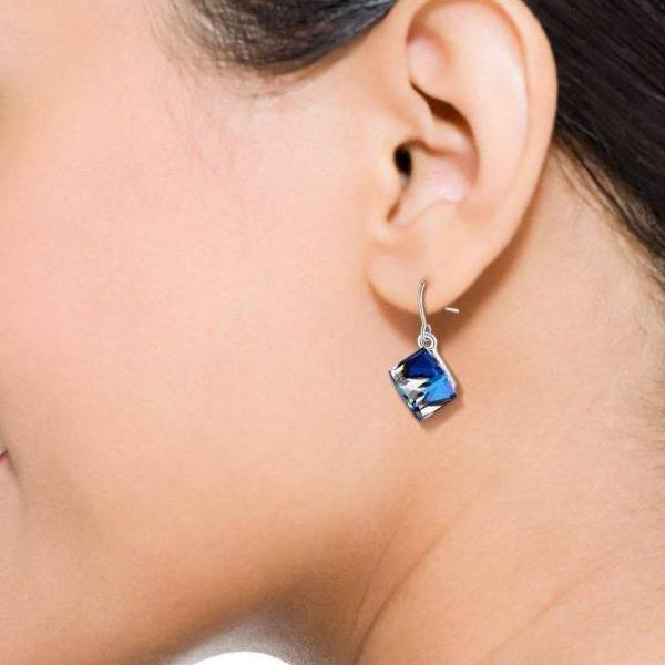 Color Changing Ocean Blue Cubic Crystal Earrings For Mother