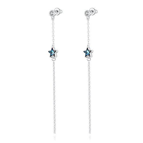 Swarovski Crystal Tassel Star Drop Five-pointed Star Tassel Earrings