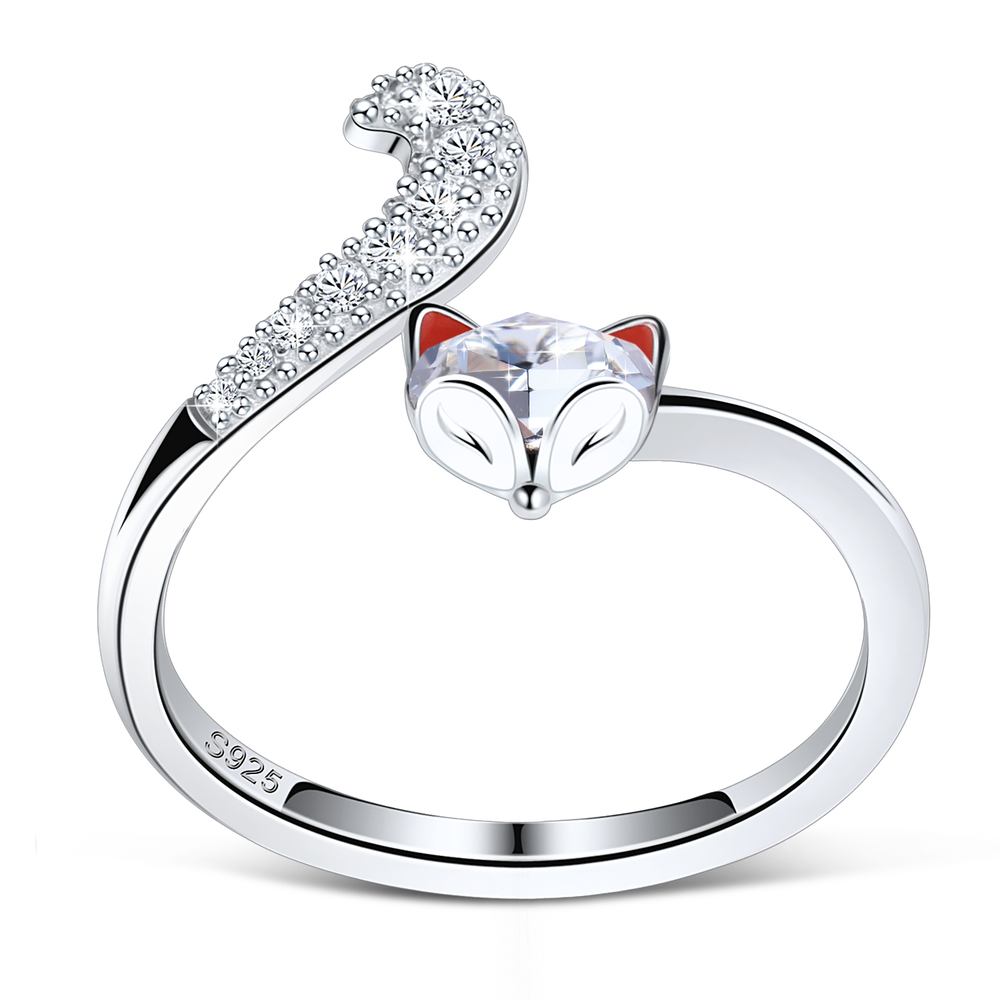 PLATO H S925 Sterling Silver Fox Animal Ring Crystals for Women Teen Girl High Polish Plain Adjustable Fox Tail Ring Anniversary Jewelry Gift for Wife