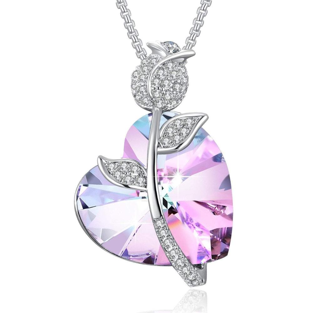 Swarovski Crystal Romantic Rose Heart Pendant Necklace, Purple/Blue