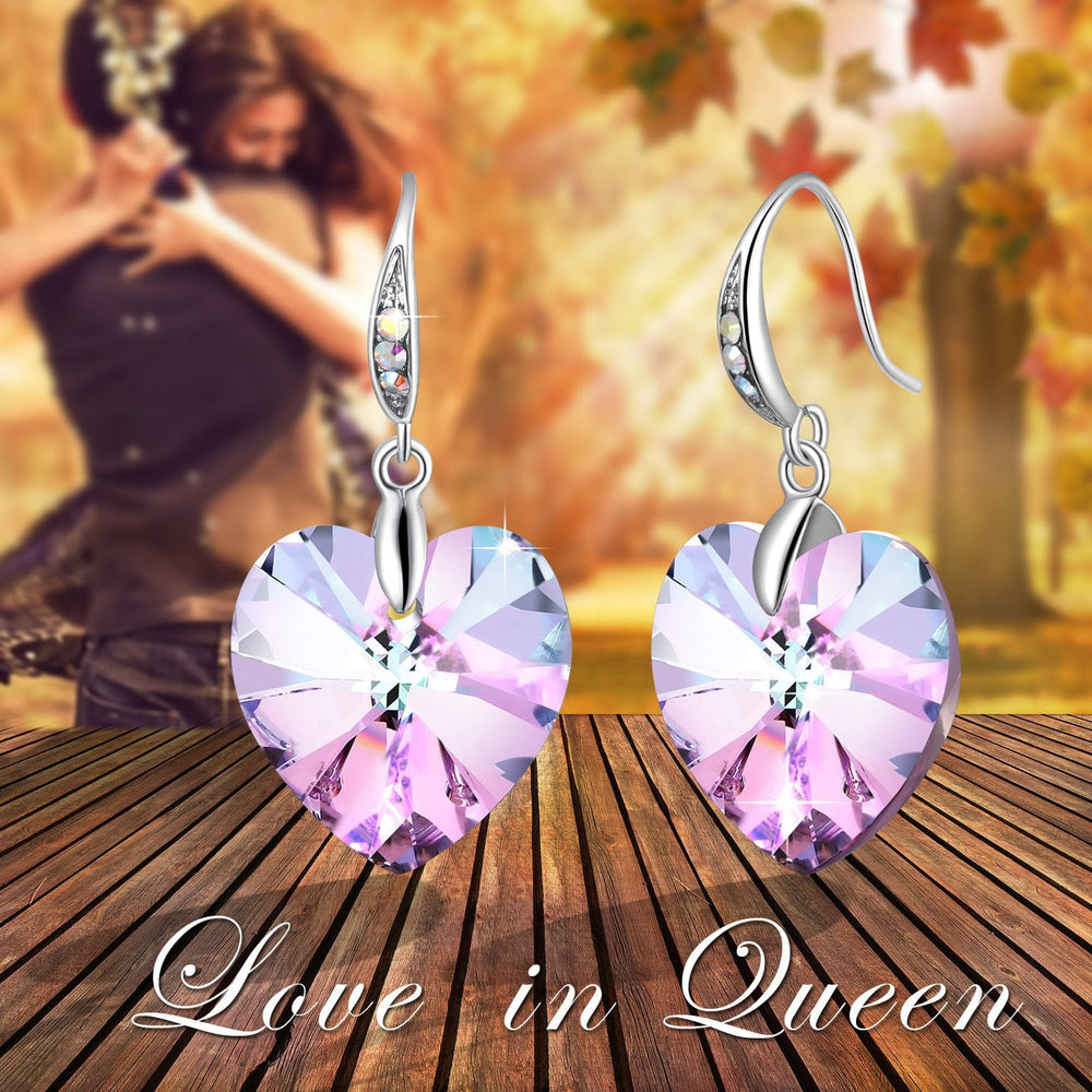 """Forever Love"" Heart Shape Stud Earring Purple Gift"