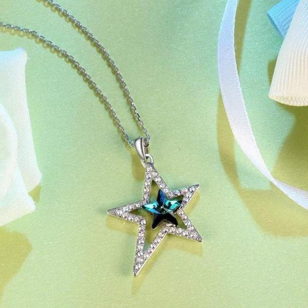 Lucky Star Blue Pendant Necklace