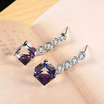 Change Color Earrings love Heart Drop Earrings Purple
