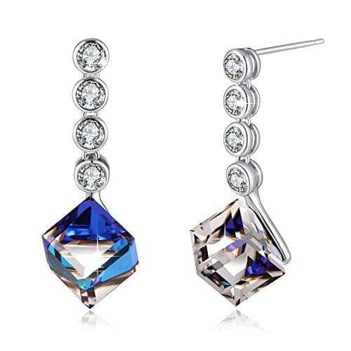 Swarovski Crystal Change Color Earrings love Heart Drop Earrings