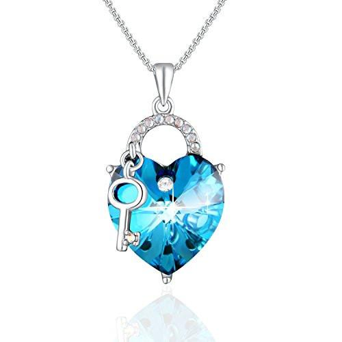 Swarovski Crystal The Key to My Heart Pendant Necklace,Ocean Blue