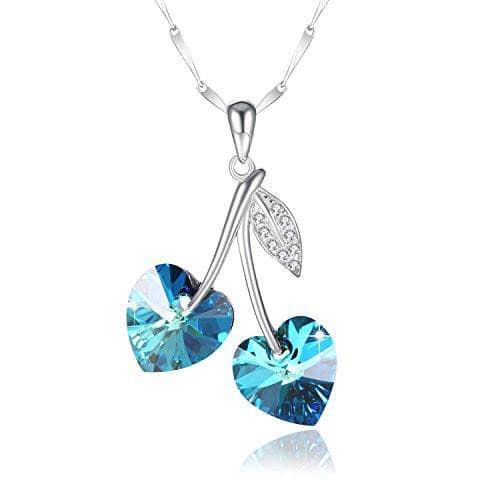 "Swarovski Crystal ""Heart to Heart"" 925 Sterling Silver Necklace, Blue"