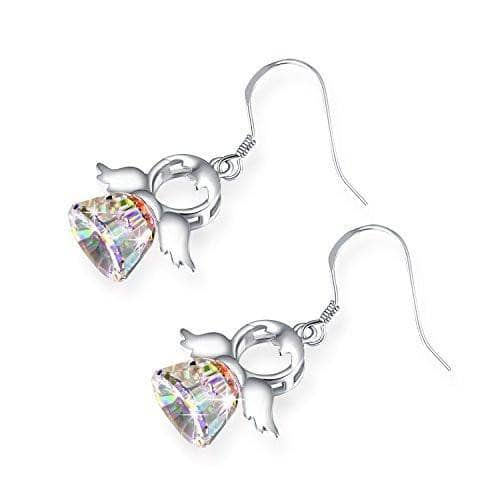 Drop Dangle 925 Sterling Silver Sweet Angel Crystal Earrings