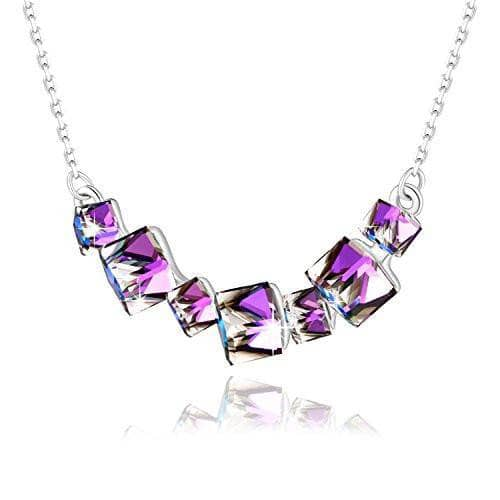 Crystal Smiling Pendant Necklace Purple Necklace