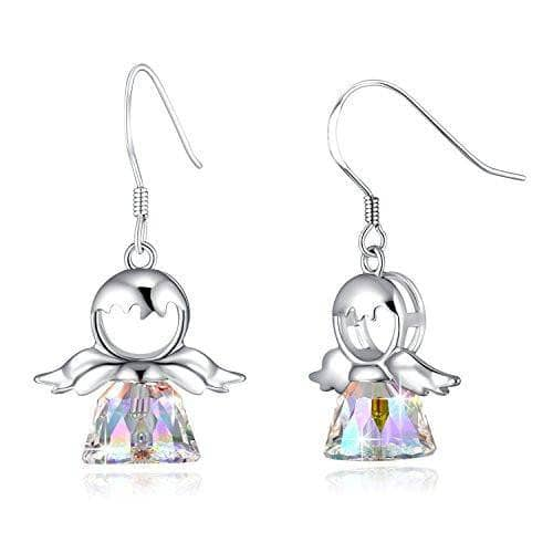 Drop Dangle Earring 925 Sterling Silver Sweet Angel Crystal Earrings