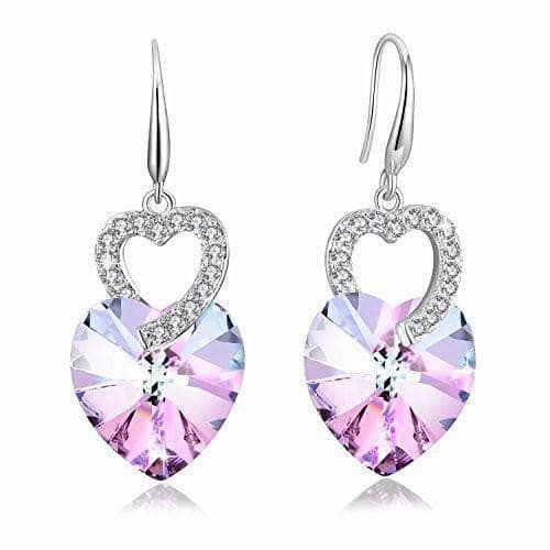 Heart Drop Dangle Earring Purple