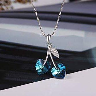Double Heart Woman's Necklace Blue