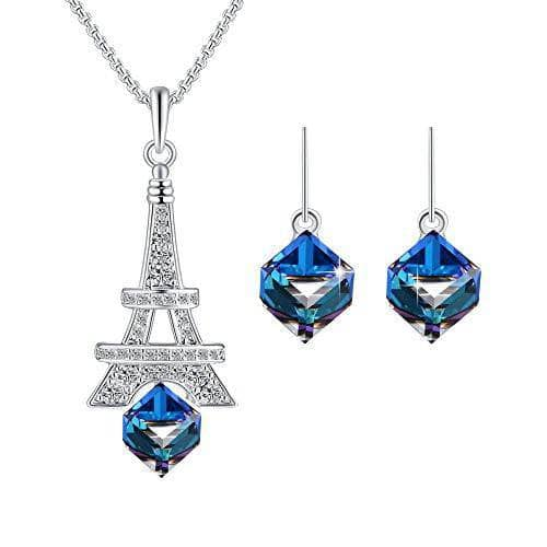 Smiling EiffelTower Necklace Earrings