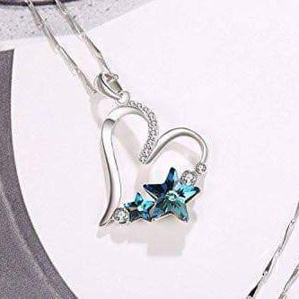 Heart Star Necklace Blue Zircon