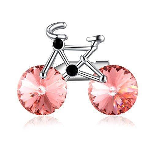 Lovely Cute Bicycle Woman's Brooch Pink