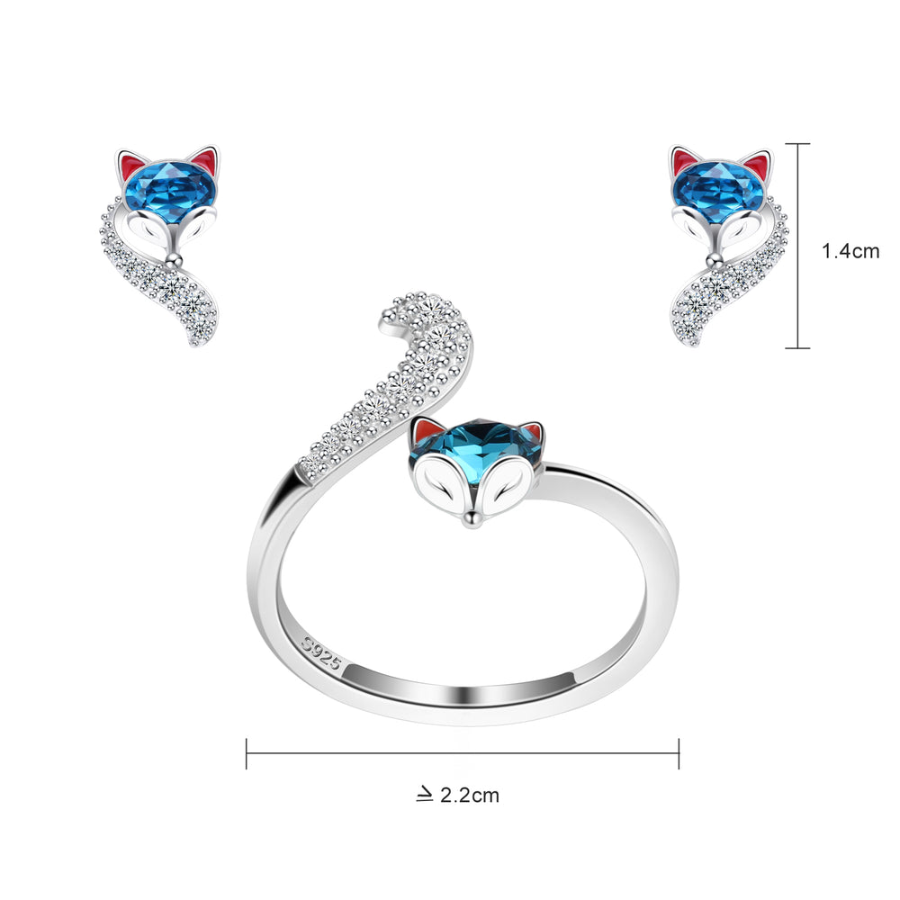 PLATO H S925 Sterling Silver Fox Animal Jewelry Sets Crystals for Women Teen Girl High Polish Plain Adjustable Fox Tail Ring and Earrings Anniversary Jewelry Gift for Wife with Exquisite Gift Box