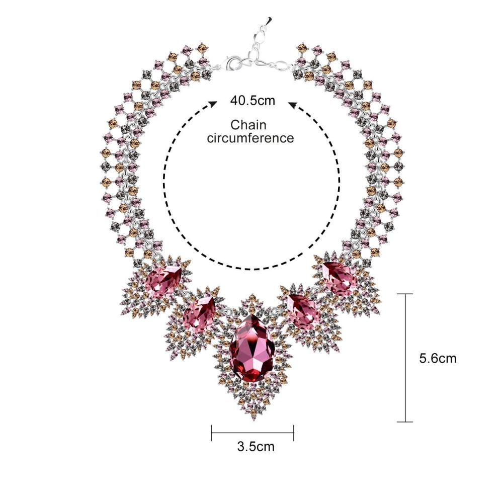 LUMINOUS FAIRY NECKLACE, MULTI-COLORED, RHODIUM PLATING, Crystals