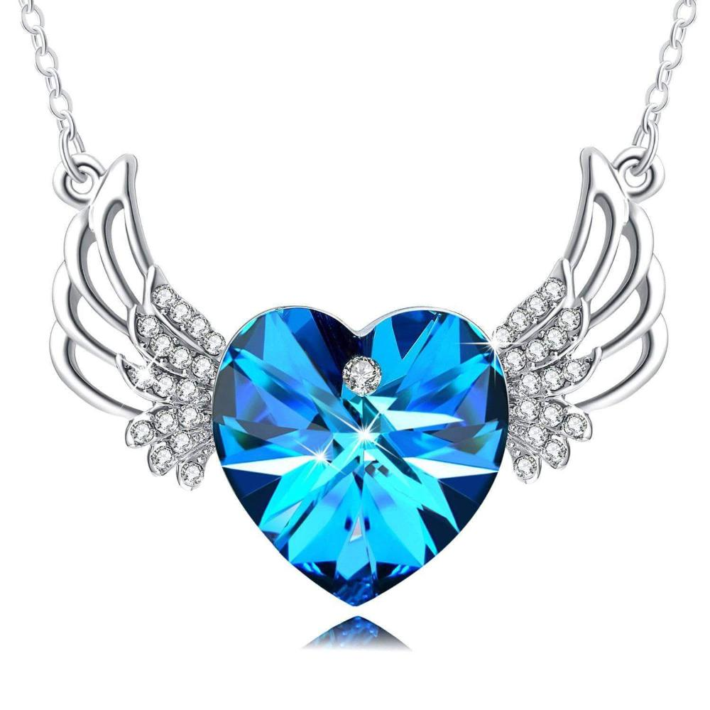 Guardian Angel Necklace Blue Crystal