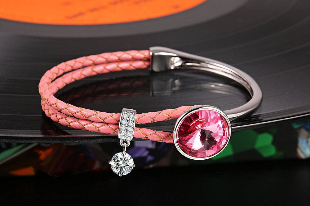Crystal Braided Leather Bracelet Pink