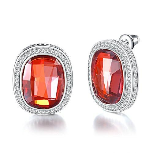 Swarovski Crystal Women Earrings Created Sapphire Stud Earrings, Red, Green