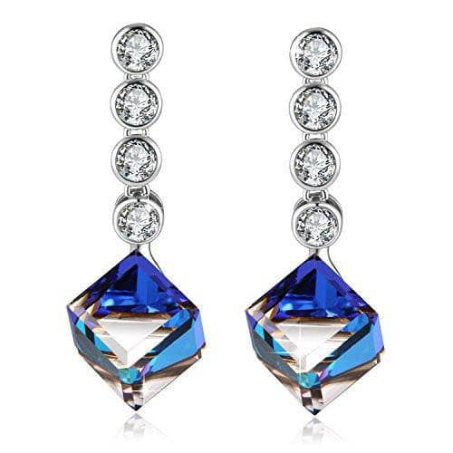 love Heart Drop Earrings Blue