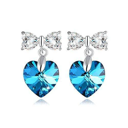 Swarovski Crystal Heart & Butterfly 925 Sterling Silver Earrings
