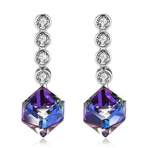 love Heart Drop Earrings Purple