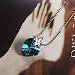 Blue Heart Bow Tie Pendant Necklace Gift